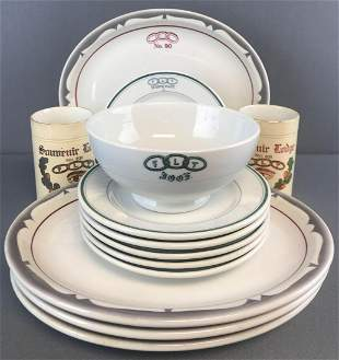 Group of 16 pieces assorted Odd Fellows Restaurant Ware