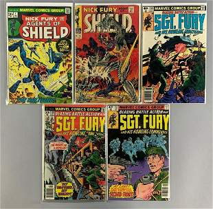 Group of 5 Marvel Comics Nick Fury Comics Books