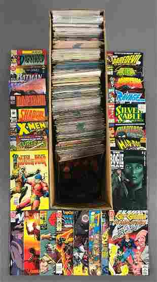 Long box of 150+ assorted comic books