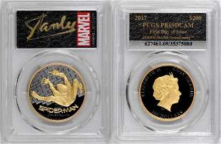 Stan Lee Signed! 2017 $200 Cook Is. Spiderman 1oz. Gold