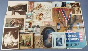 Group of poem books, pictures, war bond poster, and