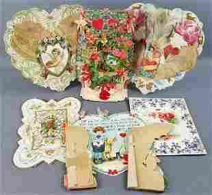 Group of 8 antique die cut/honeycomb Valentines