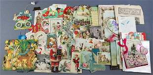 Group of antique postcards, greeting cards, and more