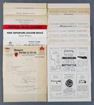 Group of vintage bicycle price lists, catalogs and more