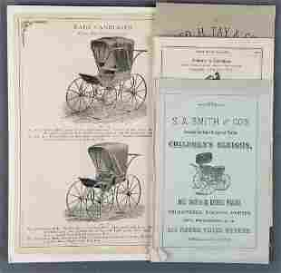 Group of antique baby carriage catalogs and more