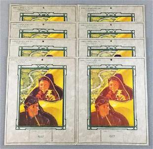 Group of 8 1937 art wall calendars