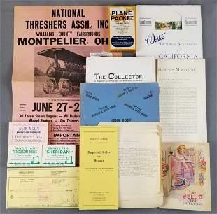 Group of vintage ephemera- poster, booklets, stationery