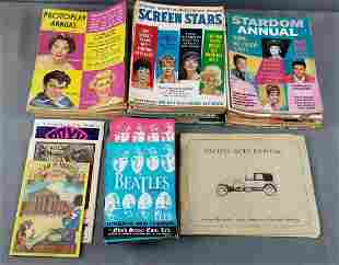 Group of vintage magazines, Beatles clothing tags and