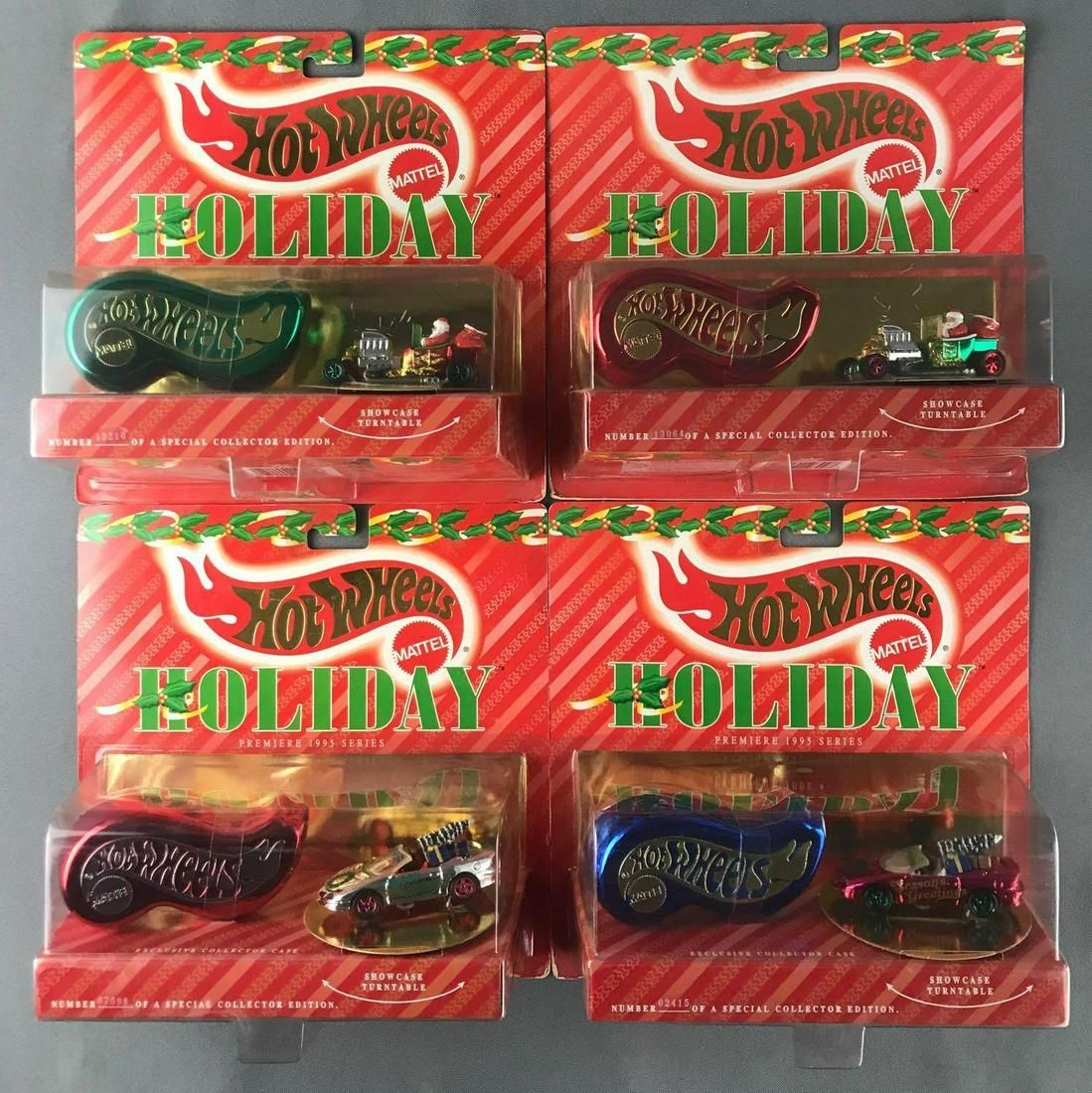 4 piece group of Hot Wheels Holiday die-cast vehicles