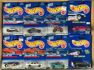 Full shipping box of assorted Hot Wheels die-cast