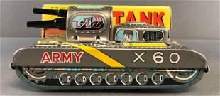 Japanese Tin Litho Friction Powered tank