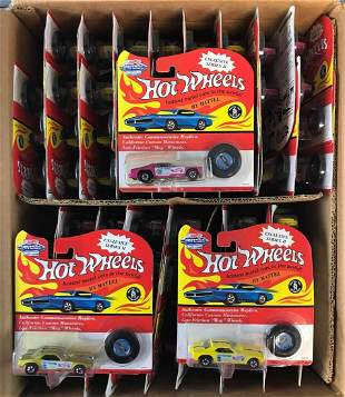 Partial shipping box of Hot Wheels die-cast vehicles