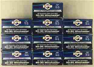 Group of 10 boxes PPU 30-30 Winchester cartridges