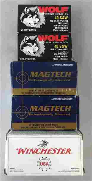 Group of 5 boxes assorted 40 S&W cartridges