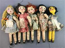 Group of Vintage Rag Doll Puppets
