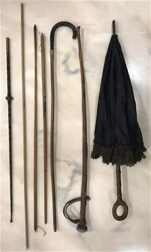 Group of various Walking Sticks/Canes/Umbrella
