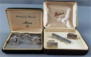 Sterling silver cufflinks and tie clips