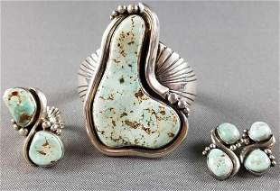 Native American sterling silver pale turquoise jewelry