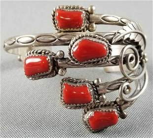 Native American sterling silver coral cuff bracelet