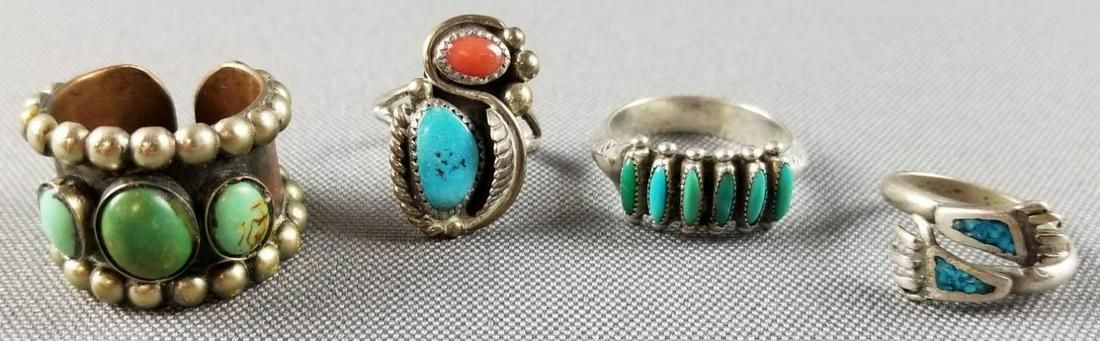 4 Native American sterling silver rings
