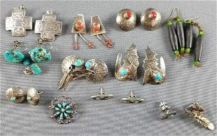 Group of sterling silver Native American jewelry