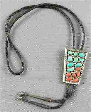 Native American bolo tie with turquoise and coral