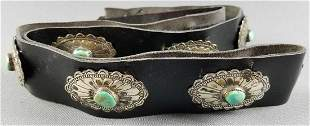 Vintage leather belt with sterling and turquoise