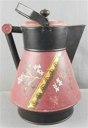 Antique hand painted metal coffee pot
