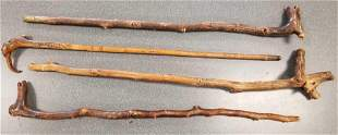 Group of 4 vintage folk art hand crafted canes