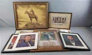 Group of vintage native American, presidents, military