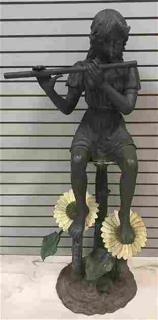 Flutist garden statue