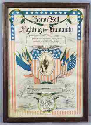 Framed WW1 Honor Roll Fighting for Humanity poster