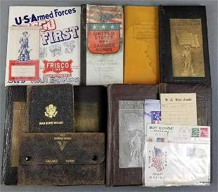 Group of war bond document keepers, wallet and more
