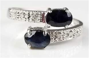 10k white gold ring with diamonds and sapphires