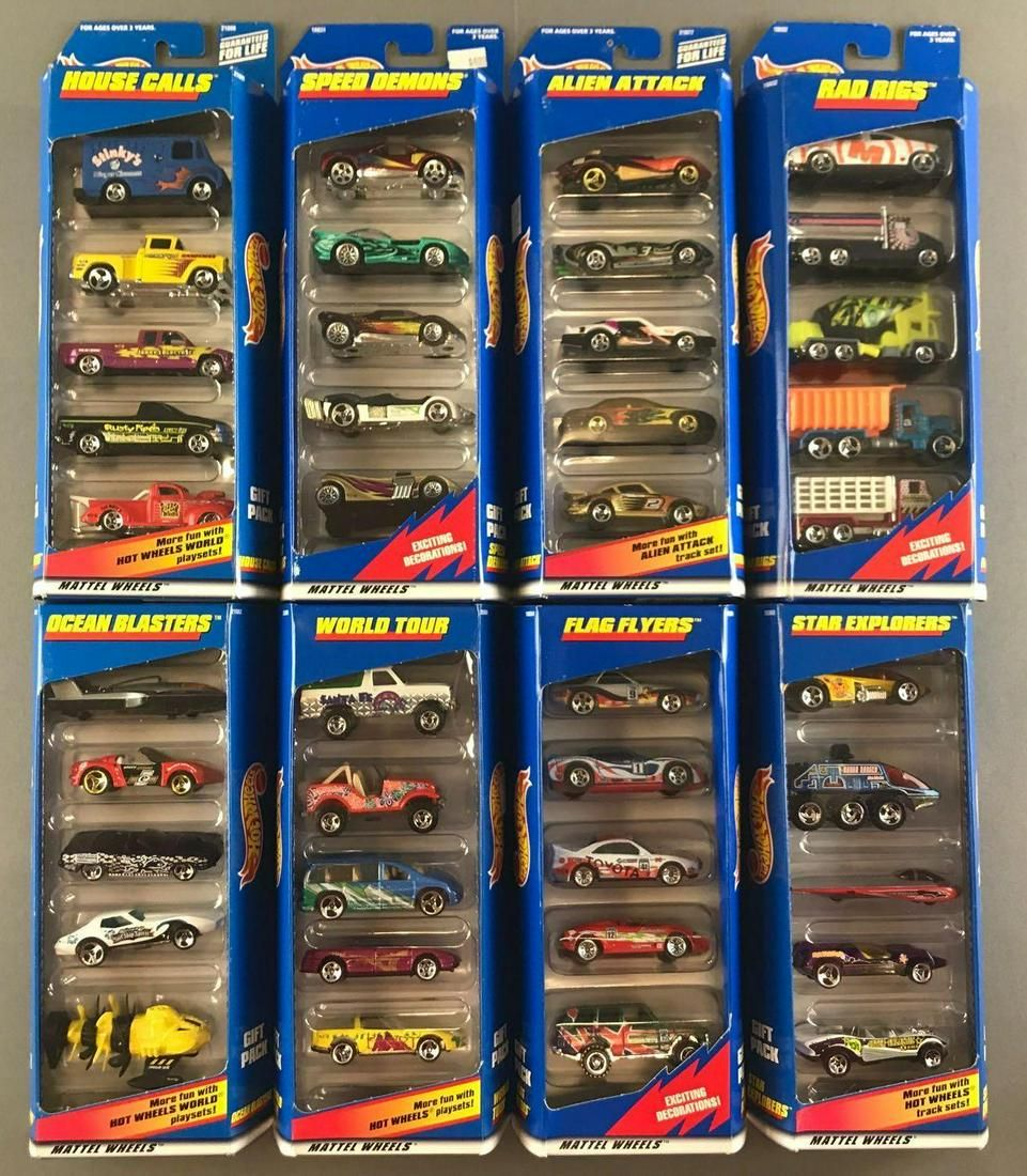 Group of 8 Hot Wheels Gift Packs in original packaging