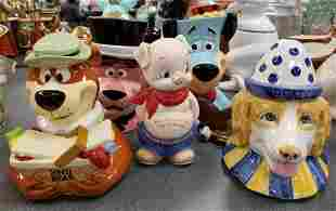 Group of 5 cookie jars, bank
