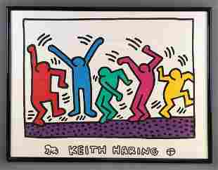 Framed Keith Haring print-Dancing People