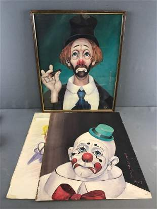 Group of 4 Clown portraits