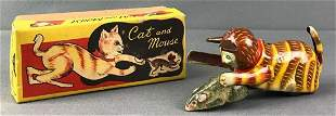 Cat and Mouse Tin Litho Friction Toy