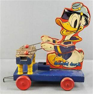 Wooden Donald Duck pull toy
