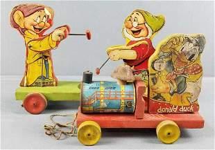 2 wooden Disney pull toys