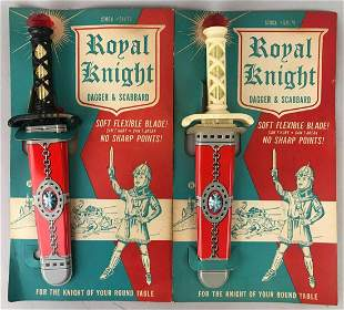 Group of 2 Mattel Royal Knight toy dagger and scabbard