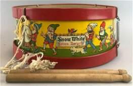 J. Chein Snow White Seven Dwarfs Drum and Drumsticks