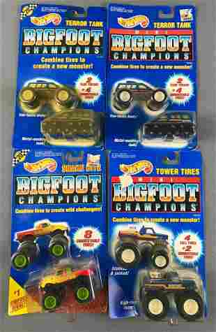 4 Mattel Mini Bigfoot Champions Cars
