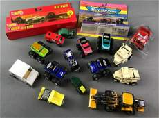 Group of Die Cast and Plastic Toy Trucks and More
