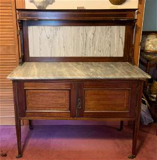 Walnut buffet with marble top