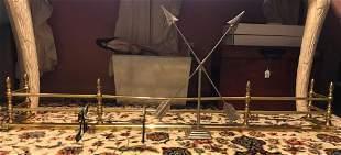 3 piece group including brass fireplace fender