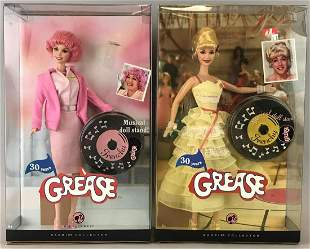 Group of 2 Pink Label Barbie Grease Frenchy dolls