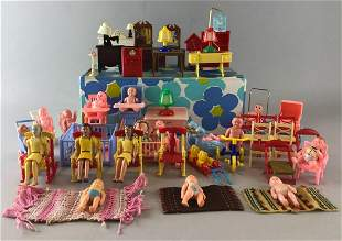 Group of Appx 70 pieces Renwal dollhouse furniture and