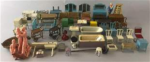 Group of Appx 50 pieces Tootsie Toy metal dollhouse